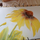 Aquarelle sur soie - Tournesol photo (4)